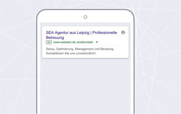 adseed: AdWords Anzeige Mobile Ansicht