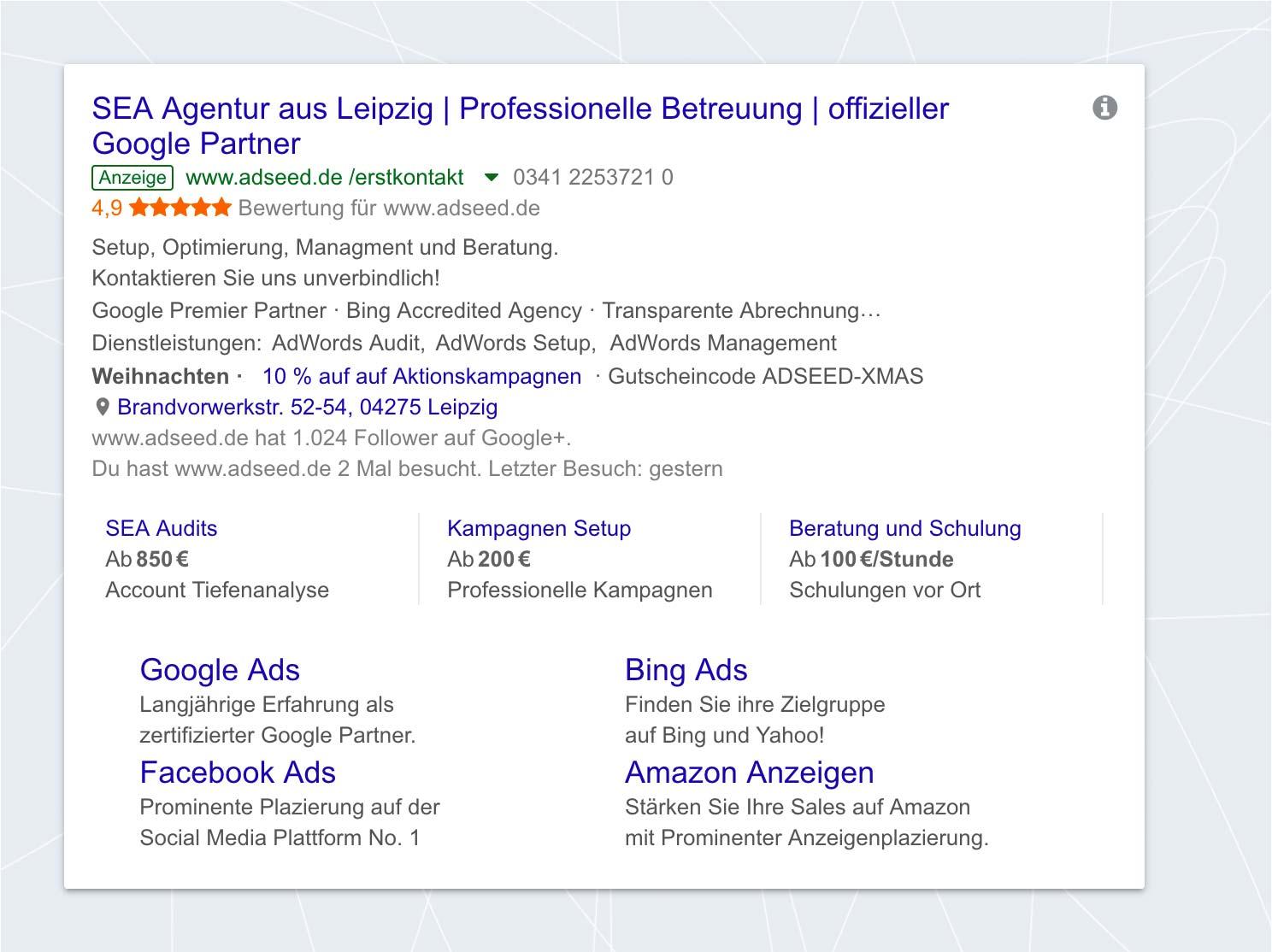 adseed - AdWords Anzeigenerweiterungen Desktop