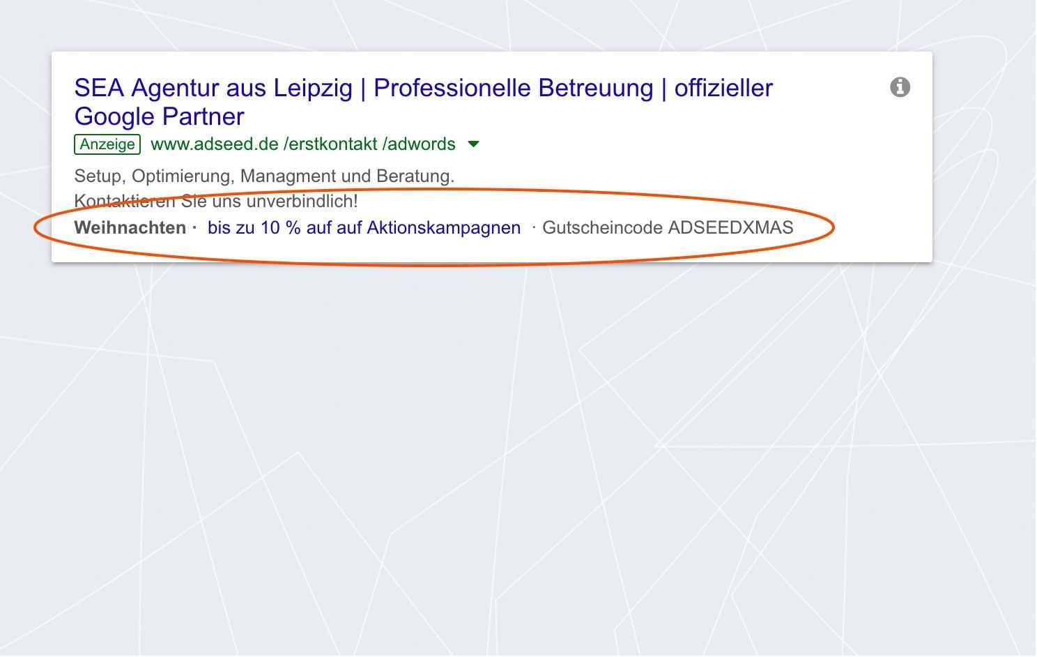 adseed - Google Ads Anzeige Angebotserweiterung Desktop