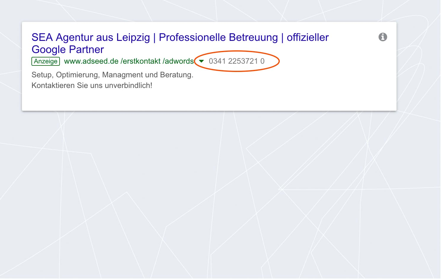 adseed - Google Ads Anzeige Anruferweiterung Desktop