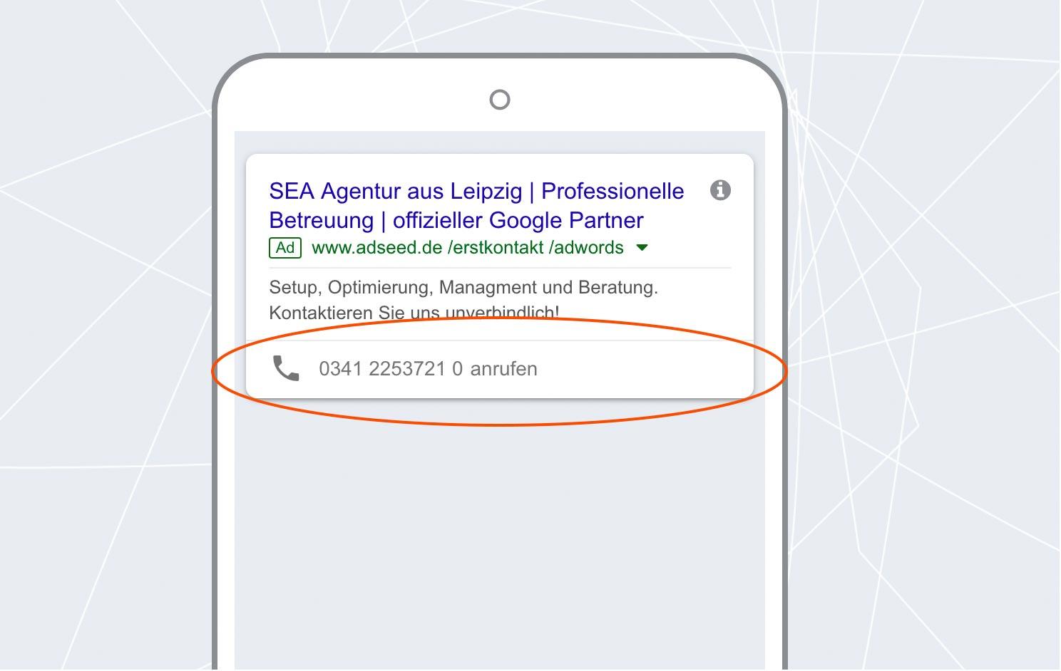 adseed - Google Ads Anzeige Anruferweiterung Mobil