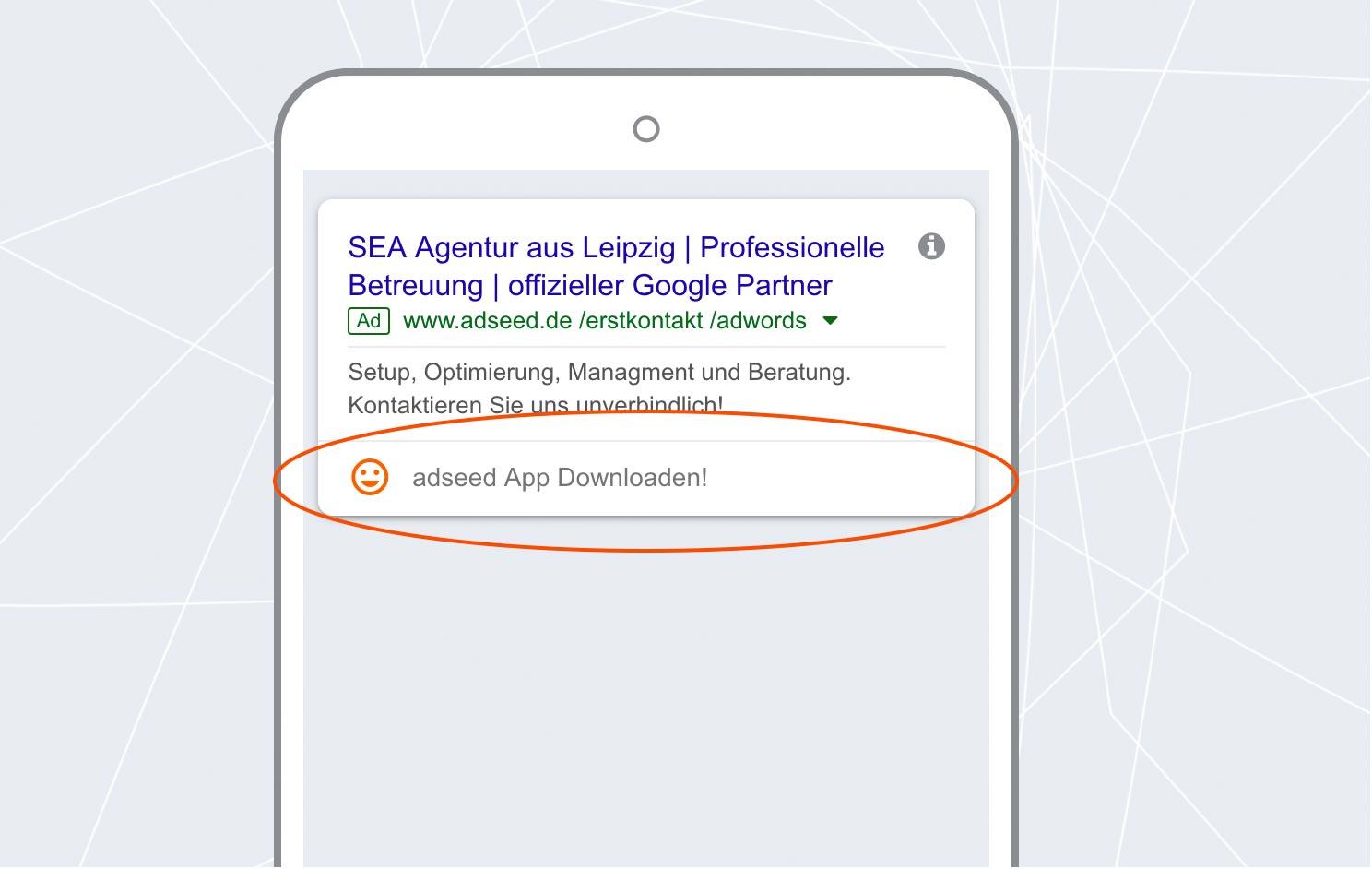 adseed - Google Ads Anzeige App-Erweiterung Mobil
