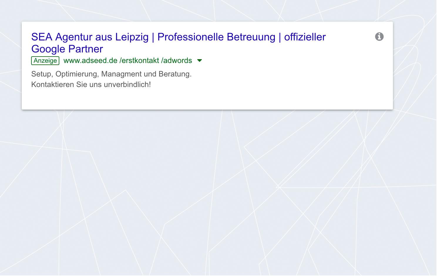 adseed - Google Ads Anzeige Desktop