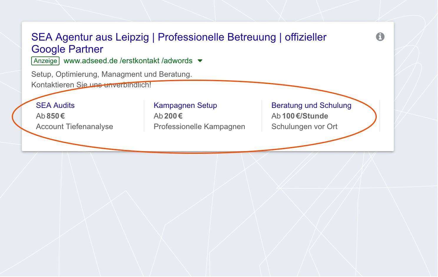 adseed - Google Ads Anzeige Preiserweiterung Desktop
