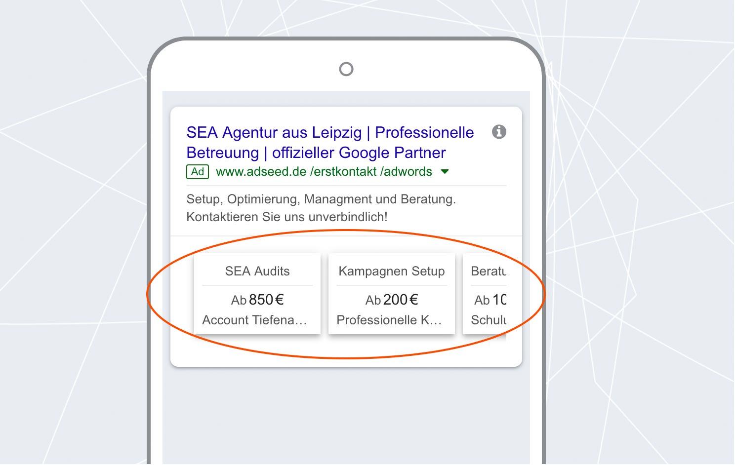 adseed - Google Ads Anzeige Preiserweiterung Mobil