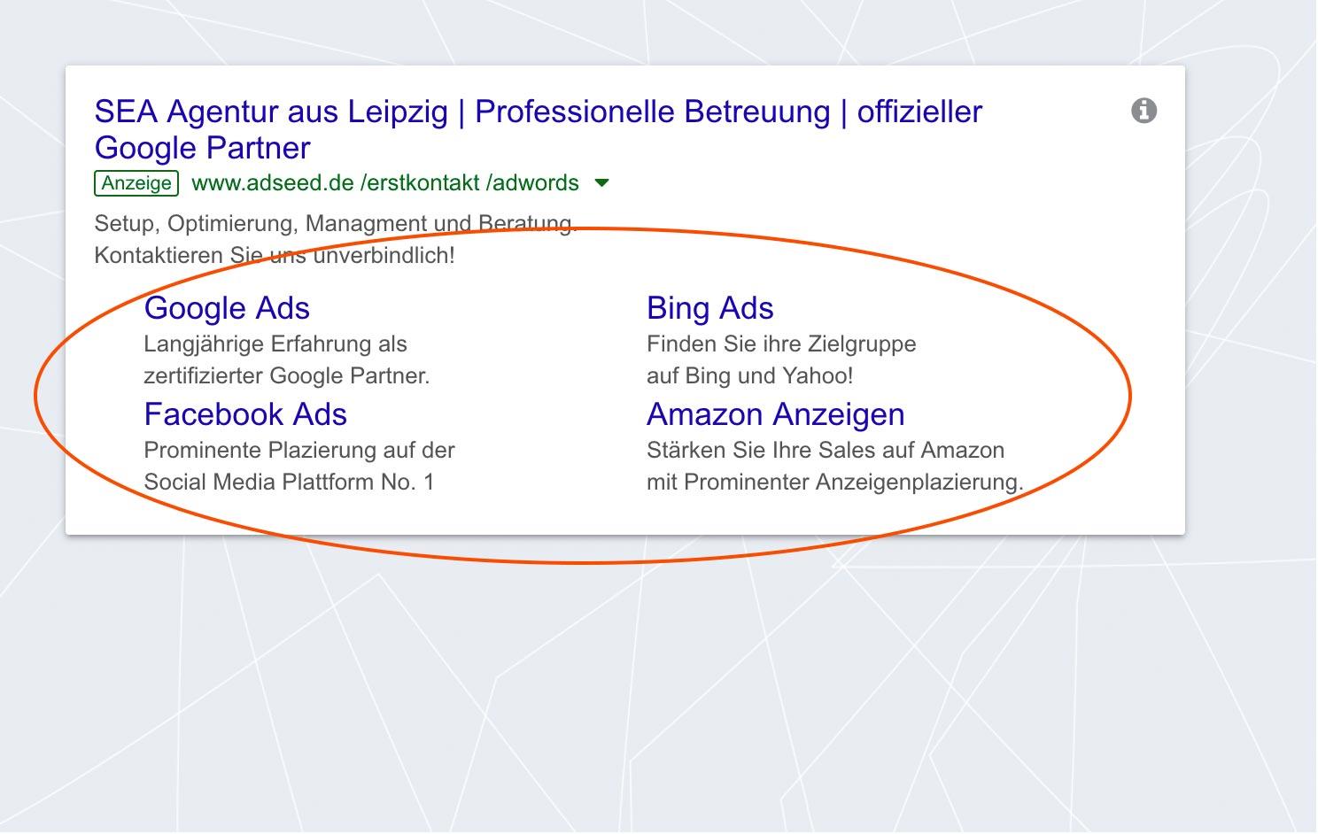 adseed - Google Ads Anzeige Sitelinks Desktop
