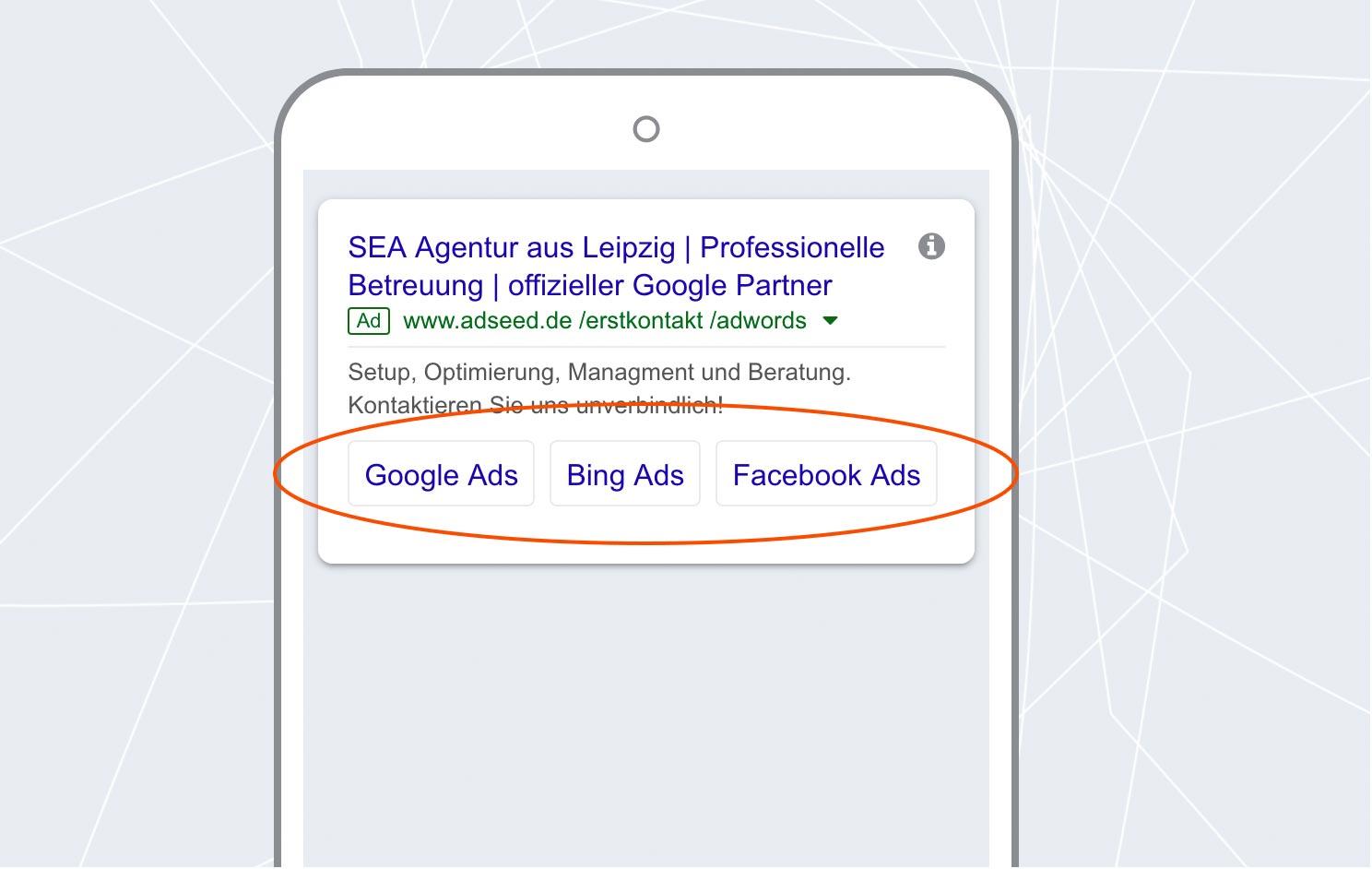 adseed - Google Ads Anzeige Sitelinks Mobil