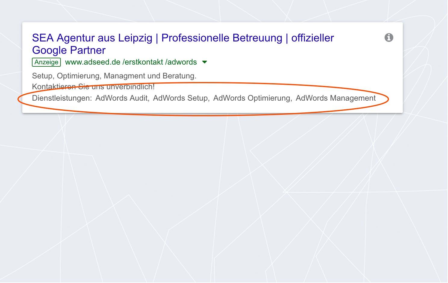 adseed - Google Ads Anzeige Snippet-Erweiterung Desktop