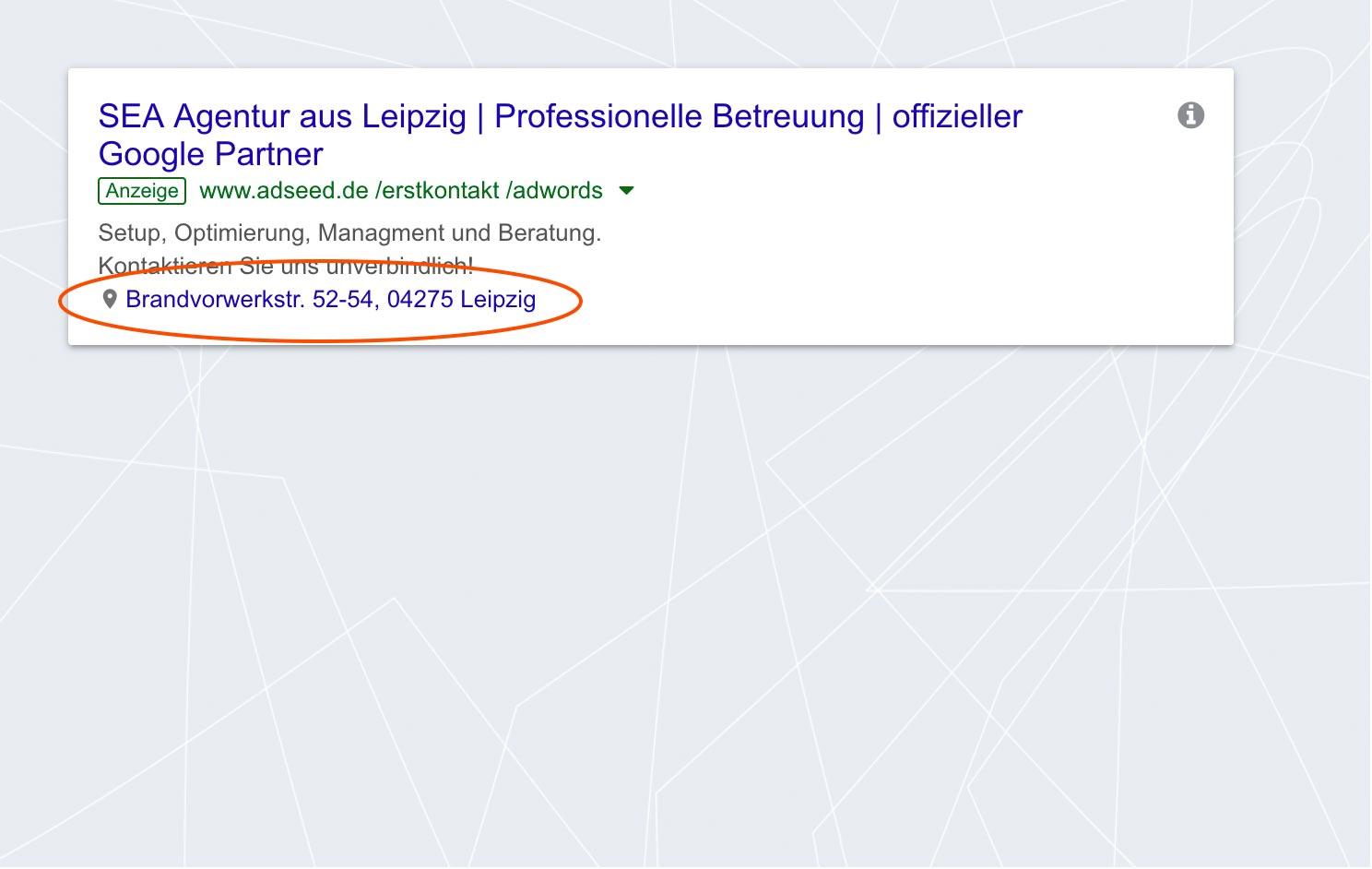 adseed - Google Ads Anzeige Standorterweiterung Desktop