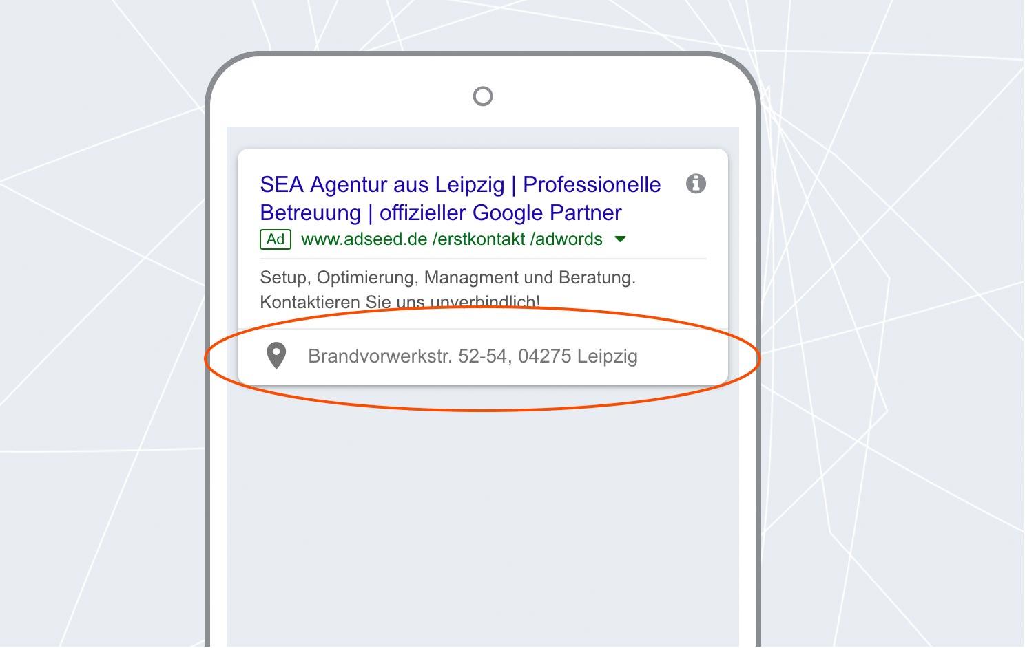 adseed - Google Ads Anzeige Standorterweiterung Mobil