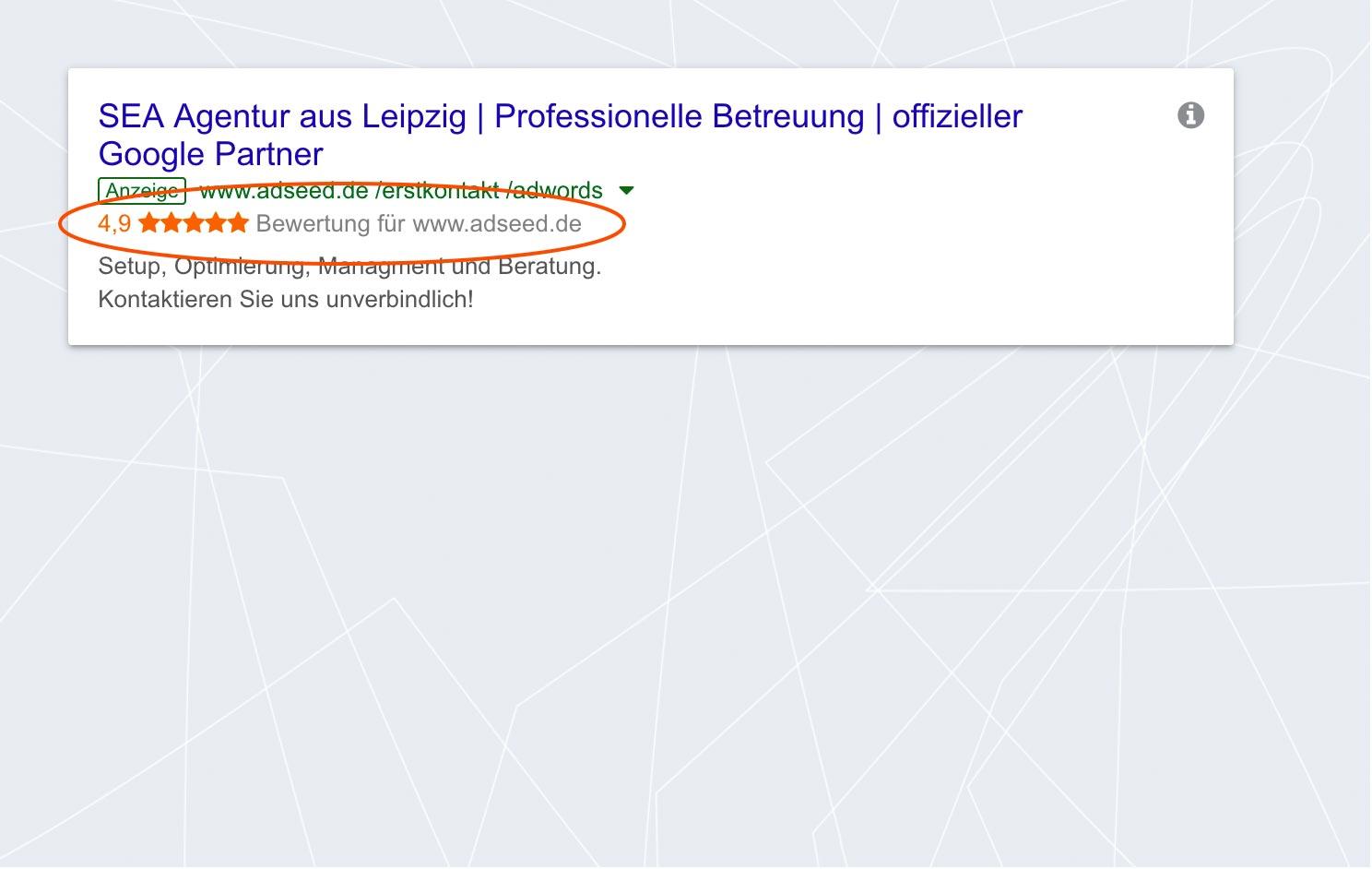 adseed - Google Ads Anzeige Verkäuferbewertungen Desktop