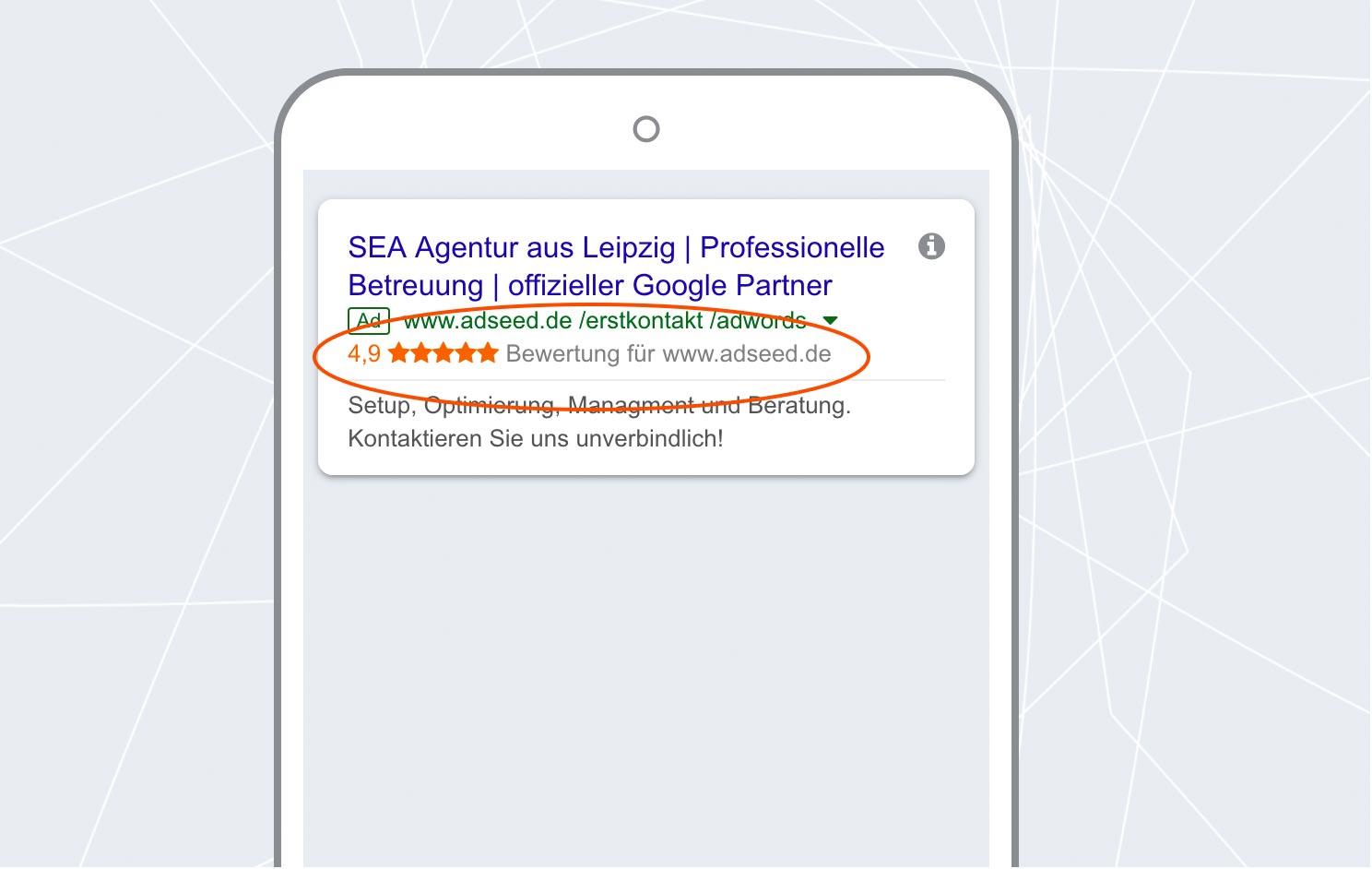 adseed - Google Ads Anzeige Verkäuferbewertungen Mobil