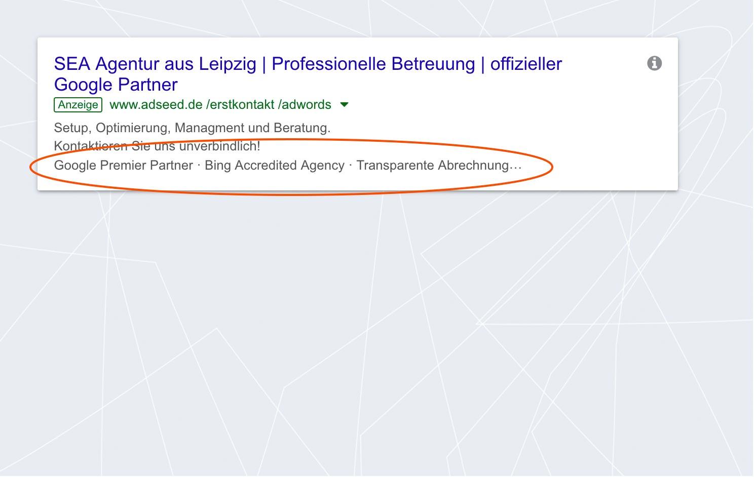 adseed - Google Ads Anzeige Erweiterung mit Zusatzinformationen Desktop