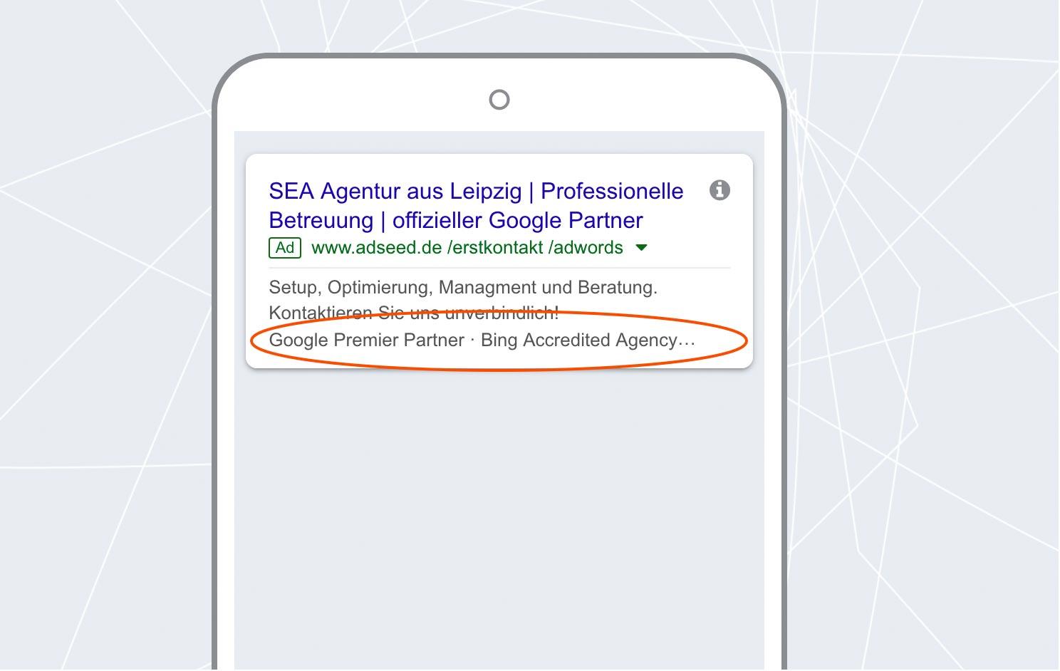 adseed - Google Ads Anzeige Erweiterung mit Zusatzinformationen Mobil