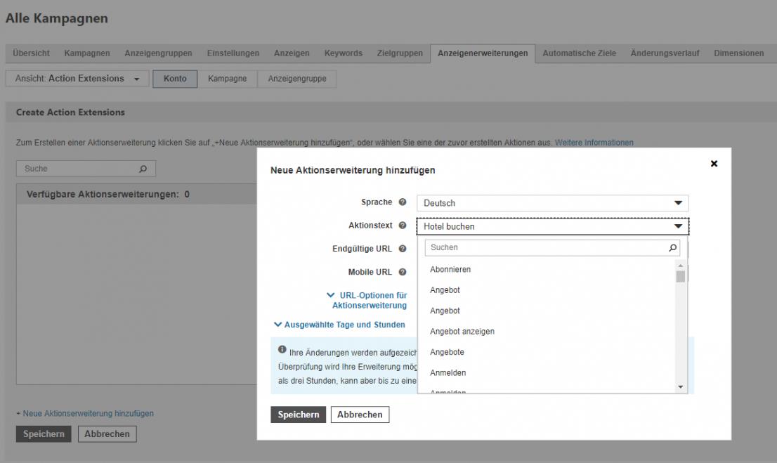 Aktionserweiterungen Bing