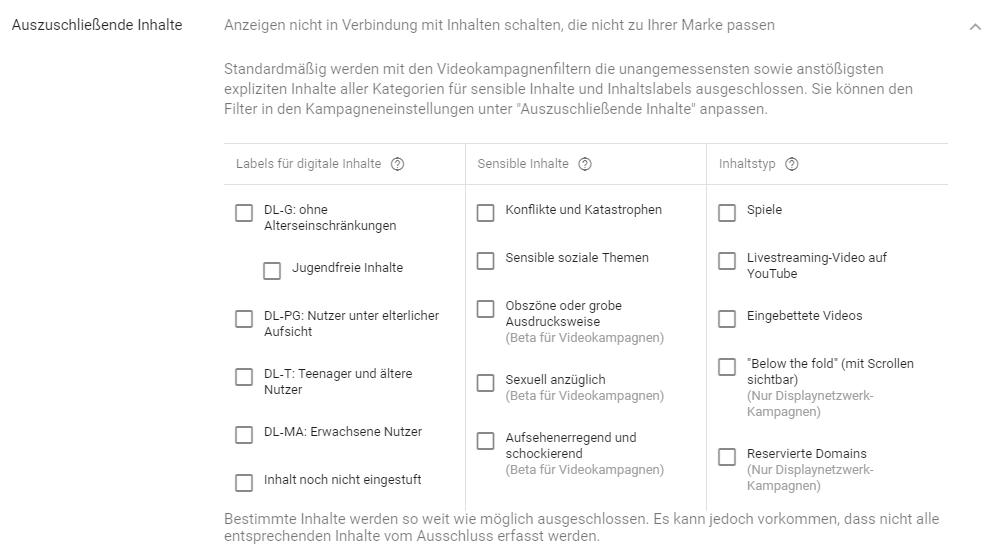 Google AdWords Display - auszuschliessende Inhalte