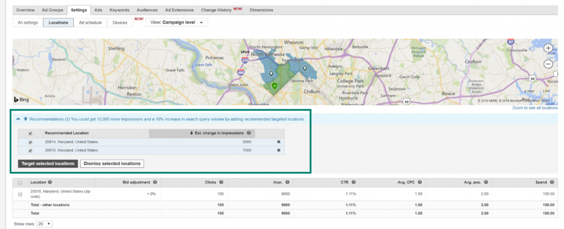 Bing Standortempfehlungen
