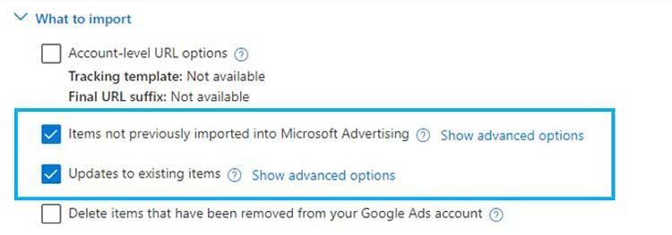 Importmenü der Zielgruppen in Microsoft Advertising 2