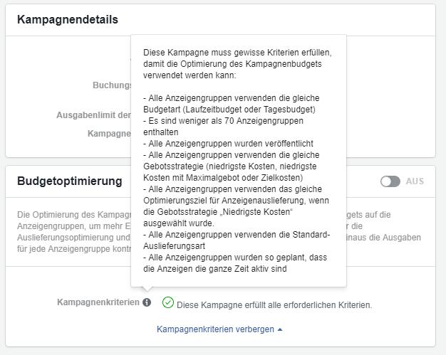 Facebook Kampagnenbudget