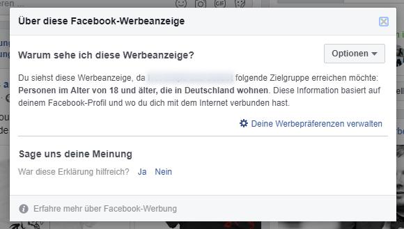 Facebook: Warum sehe ich diese Werbeanzeige?