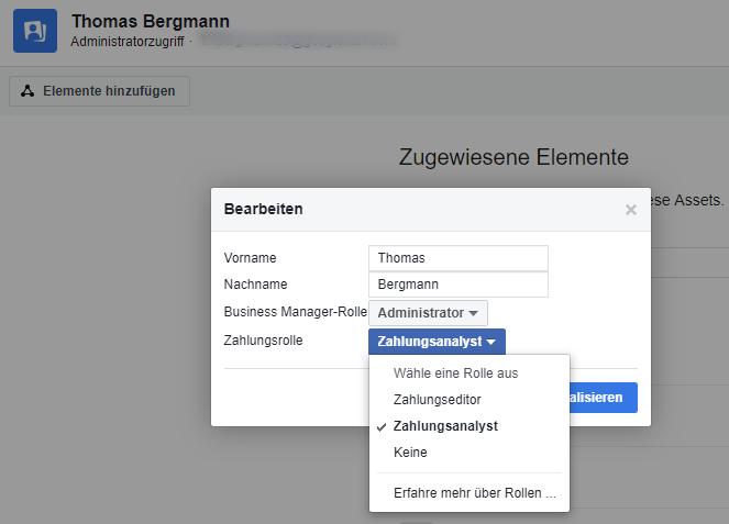 Facebook Business Manager Rollen