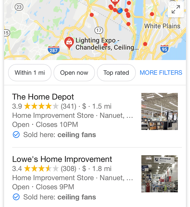 "Google Local Pack ""sold here"""