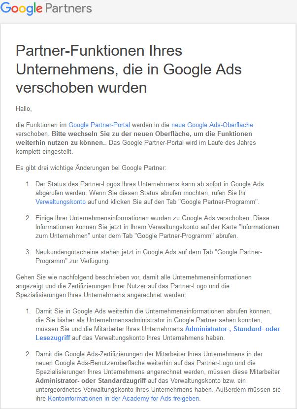 Google Partner Portal Einstellung