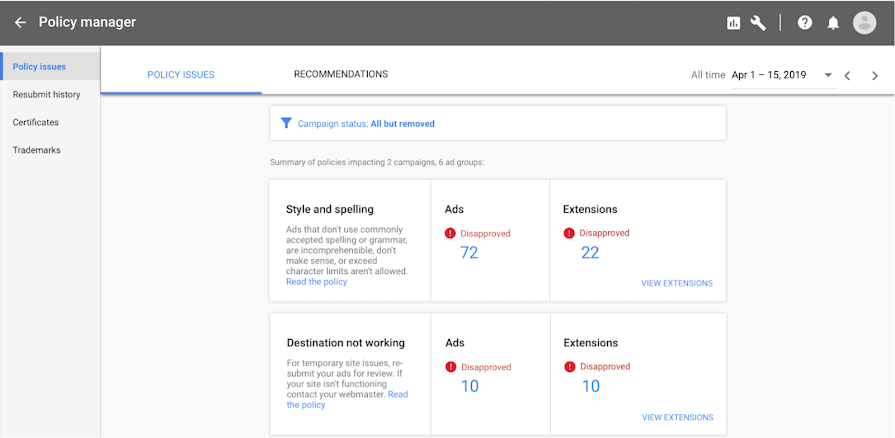 Google Policy Manager