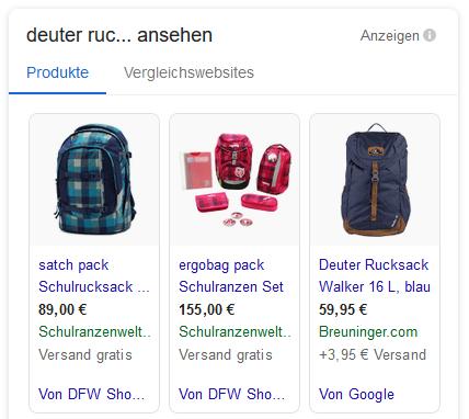 Google Shopping Vergleichsanzeigen