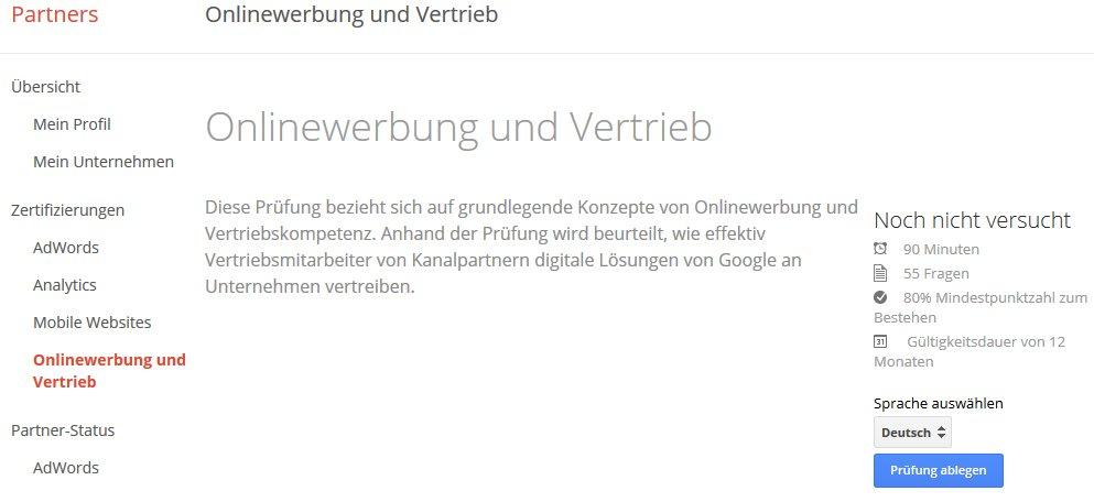Google Zertifikat Onlinewerbung und Vertrieb