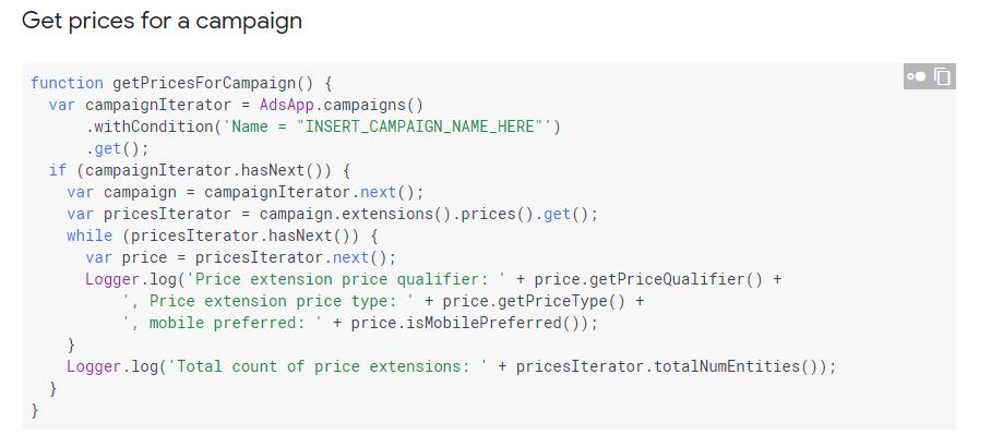 Google Script Preiserweiterung