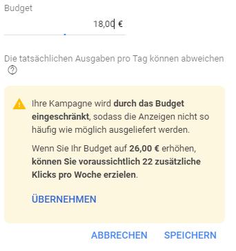 Budgetempfehlung eingeschränkt