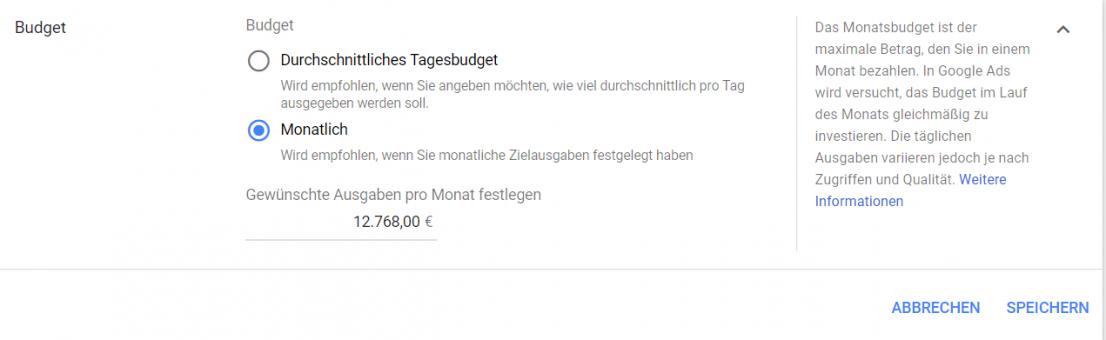 Google Ads Monatsbudget