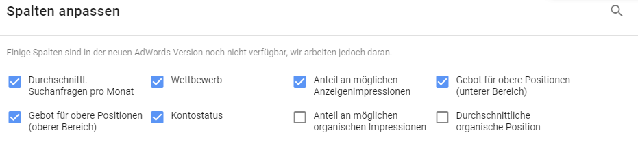 Google AdWords Keywordplanner - neue Metriken
