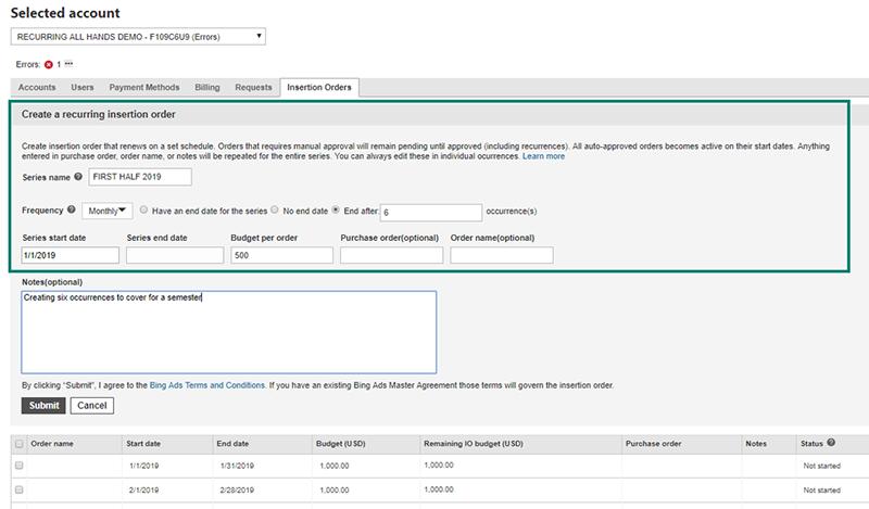 Insertions anlegen Bing Ads